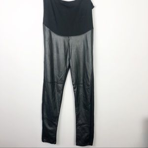 Mama Black Leather Look Maternity Pants